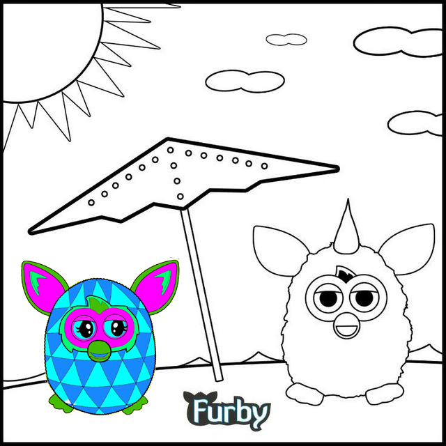 Furby spending holiday on the beach coloring page