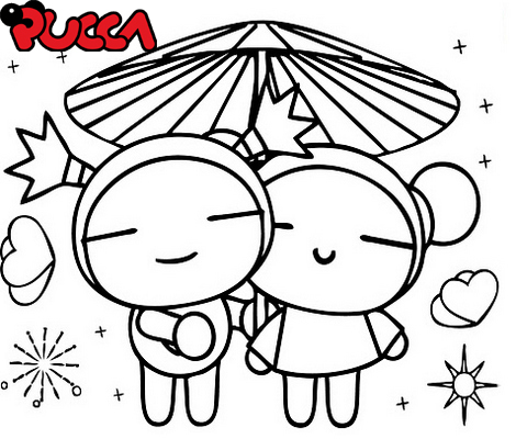 Garu and Pucca Love Under Umbrella Coloring Page