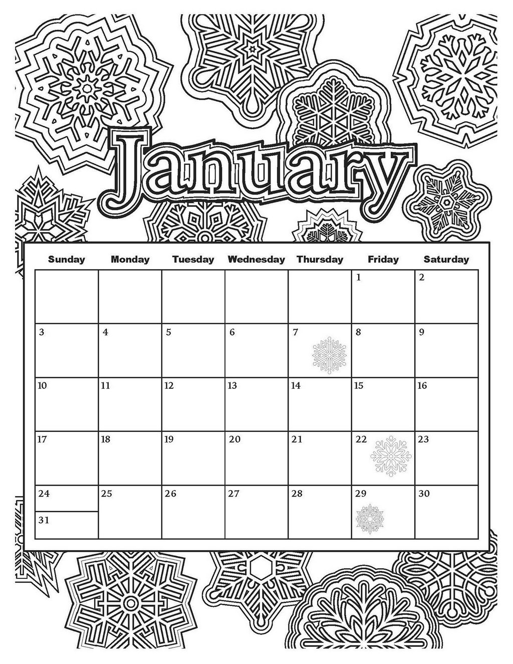 January calendar with winter mandala theme coloring page