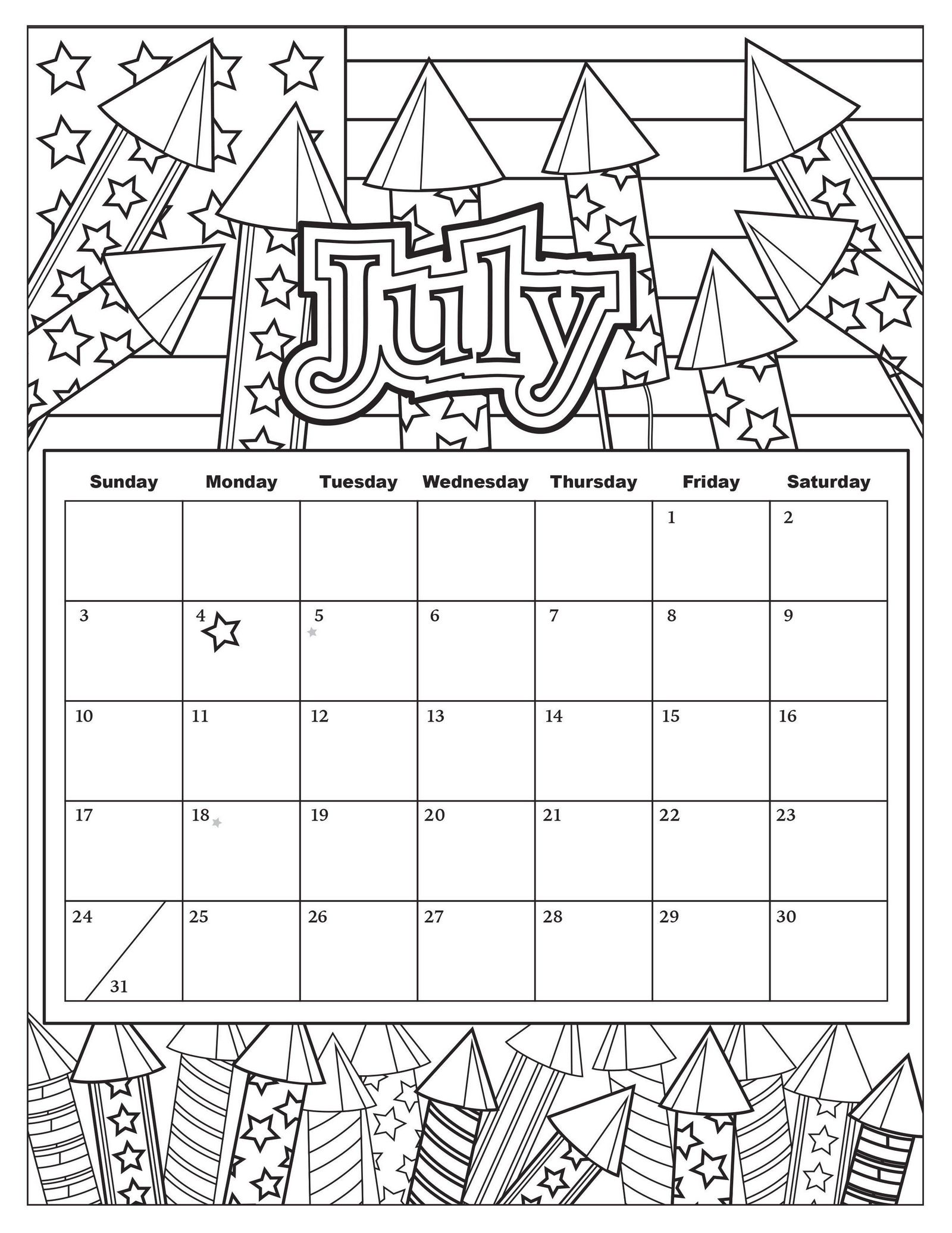 July Calendar with Fireworks theme coloring page