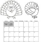 November Calendar Turkey Thanksgiving theme ColoringPage