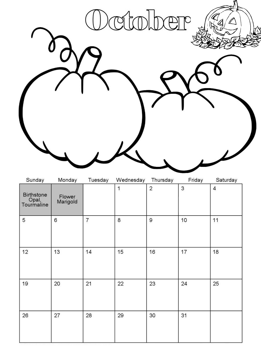 October pumpkin theme coloring page