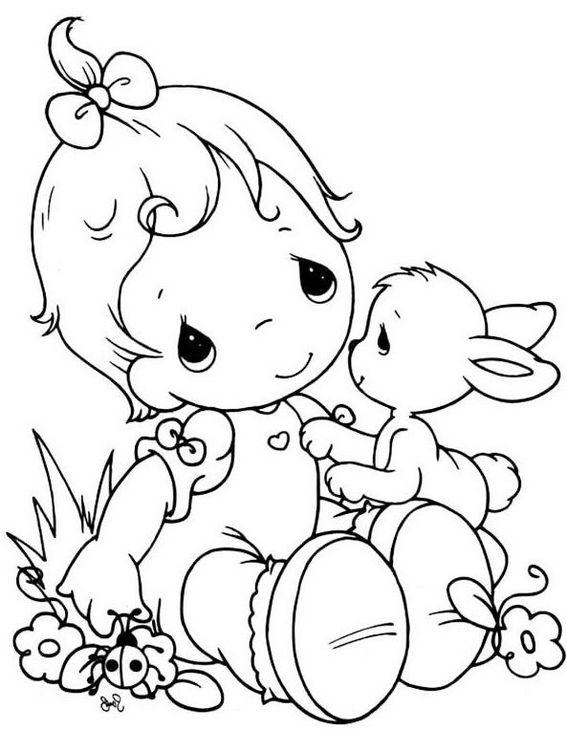 PRECIOUS MOMENTS Boy And Rabbit Coloring Sheet