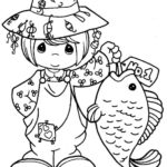 PRECIOUS MOMENTS Fishing Coloring Sheet