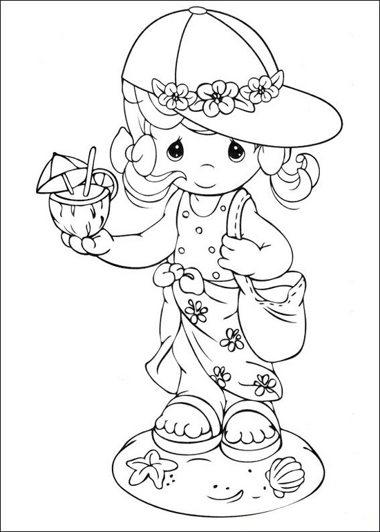 PRECIOUS MOMENTS Girl Going to the Beach Coloring Page