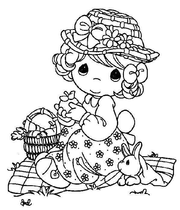 PRECIOUS MOMENTS Picnic Coloring Page