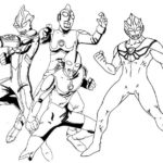 Perfect Ultraman Characters Coloring Page for Boys
