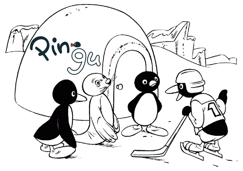 Pingu in front of Igloo coloring page