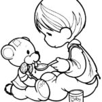 Precious Moments Boy Feeding Teddy Bear coloring pages