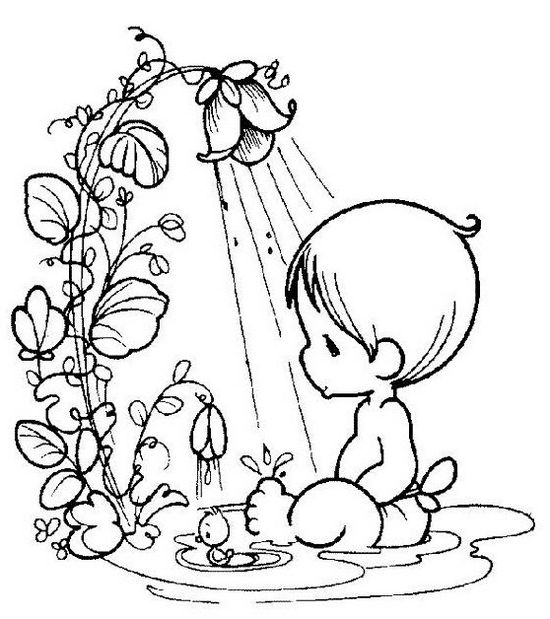 Precious Moments Take a Shower Coloring Pages
