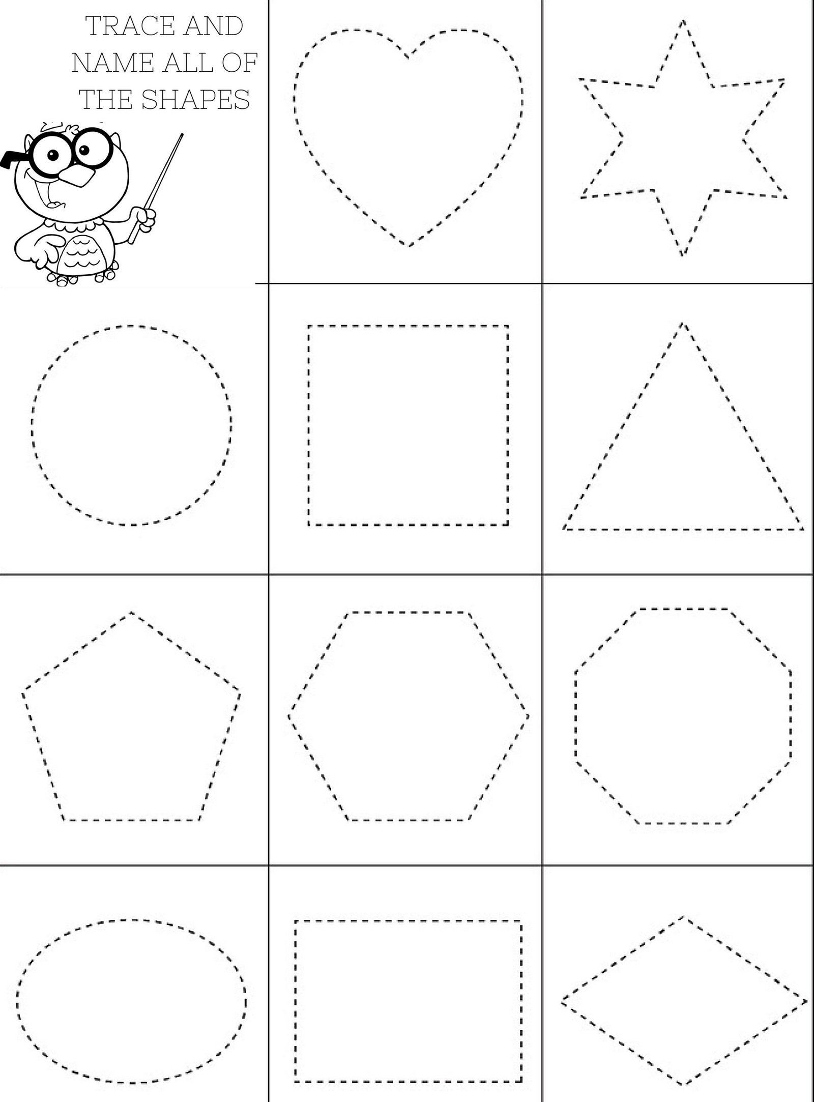 Printable shapes coloring page for preschool