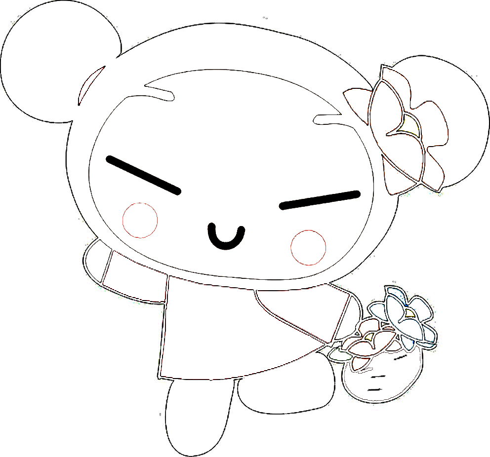 Pucca Bringing Fruits Coloring Page