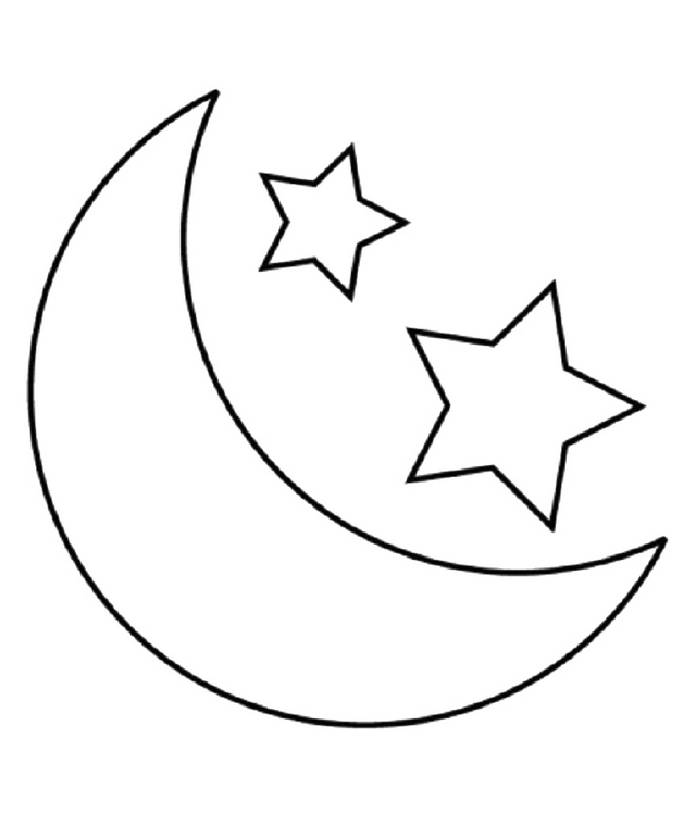 Simple Stars and Moon Coloring Page