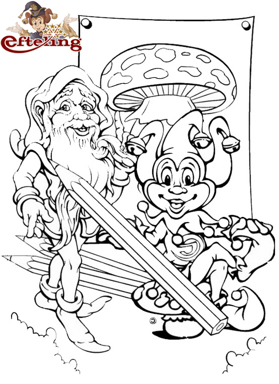 Theme Park Efteling Mushroom Coloring Page