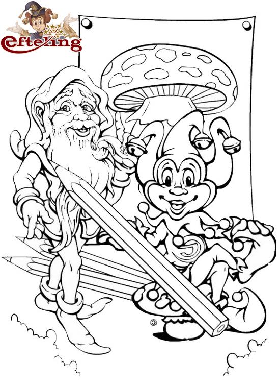 Theme Park Efteling Mushroom Coloring Page