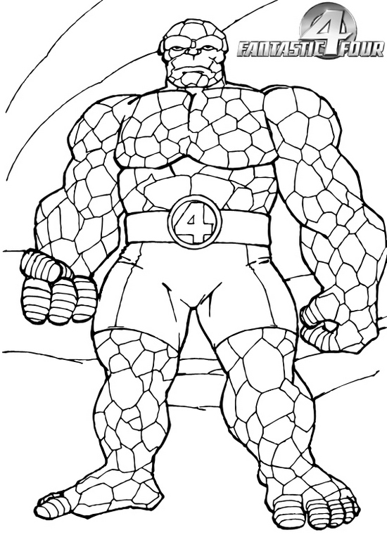 Thing from fantastic 4 coloring page