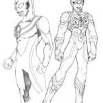 Ultraman Dyna and Ultraman Shison Coloring Page Sketch Drawing