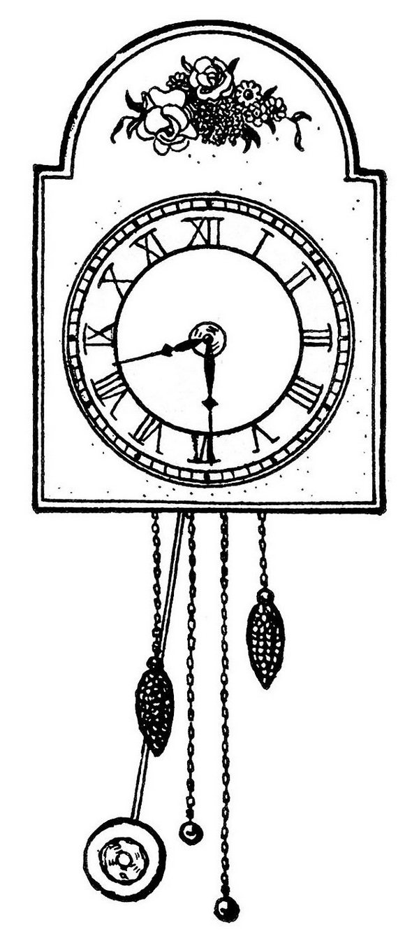Wall Clock Coloring Sheet For Kids