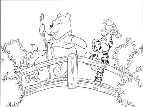 Winnie the Pooh crossing a bridge coloring page
