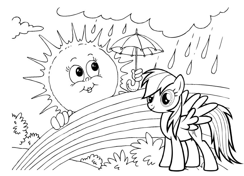 Wonderful Rainbow Dash My Little Pony Coloring Page
