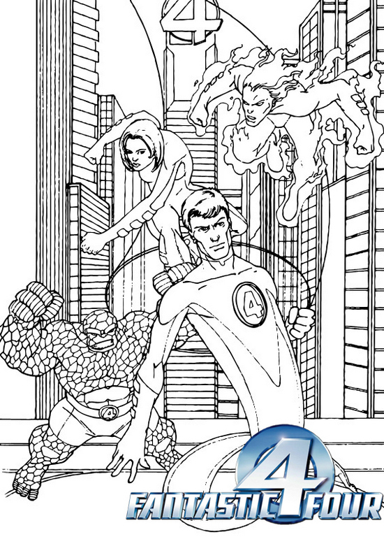 best fantastic 4 superhero coloring pages