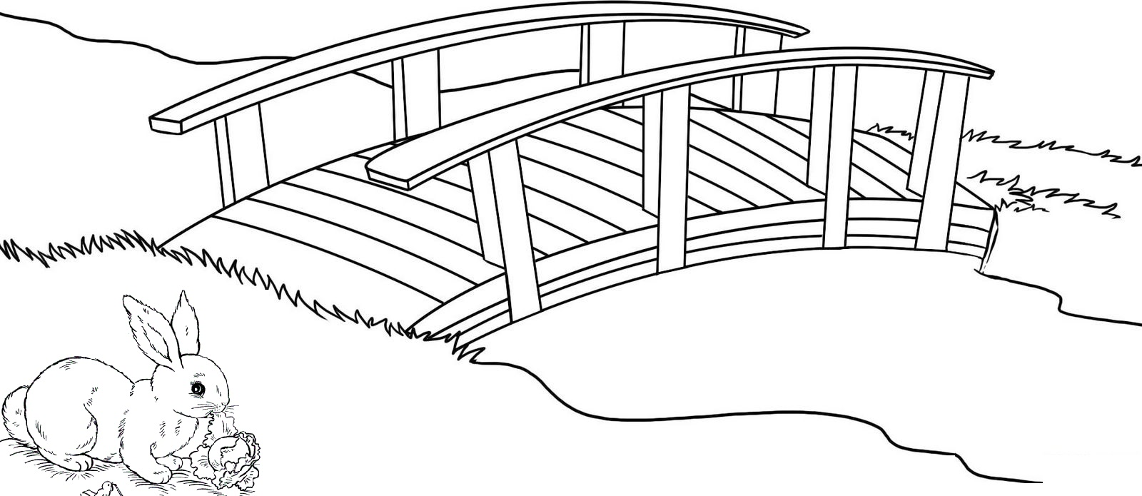best wooden bridge in village coloring page