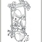 boy girl swing precious moments swing coloring page