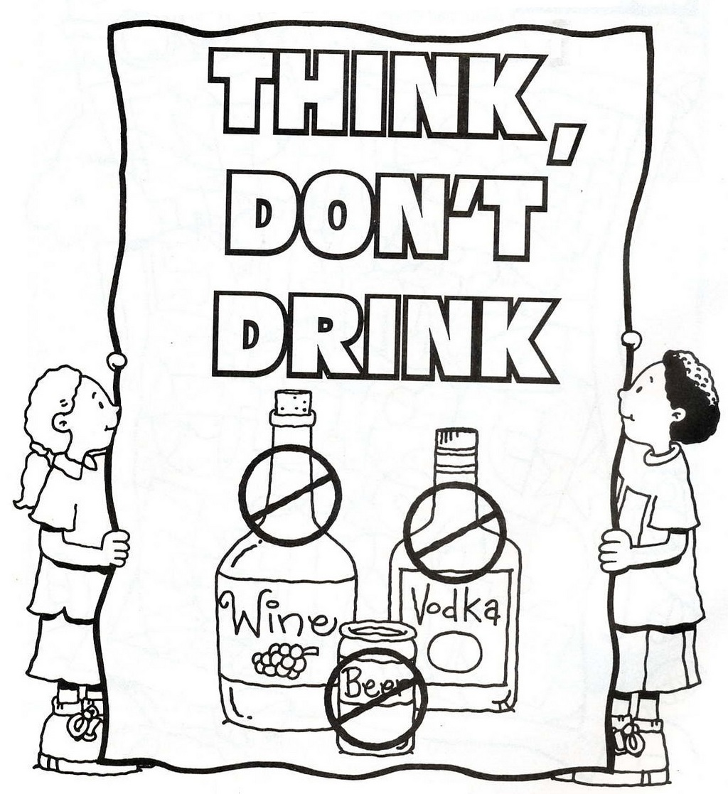 do not drink and drug free coloring page