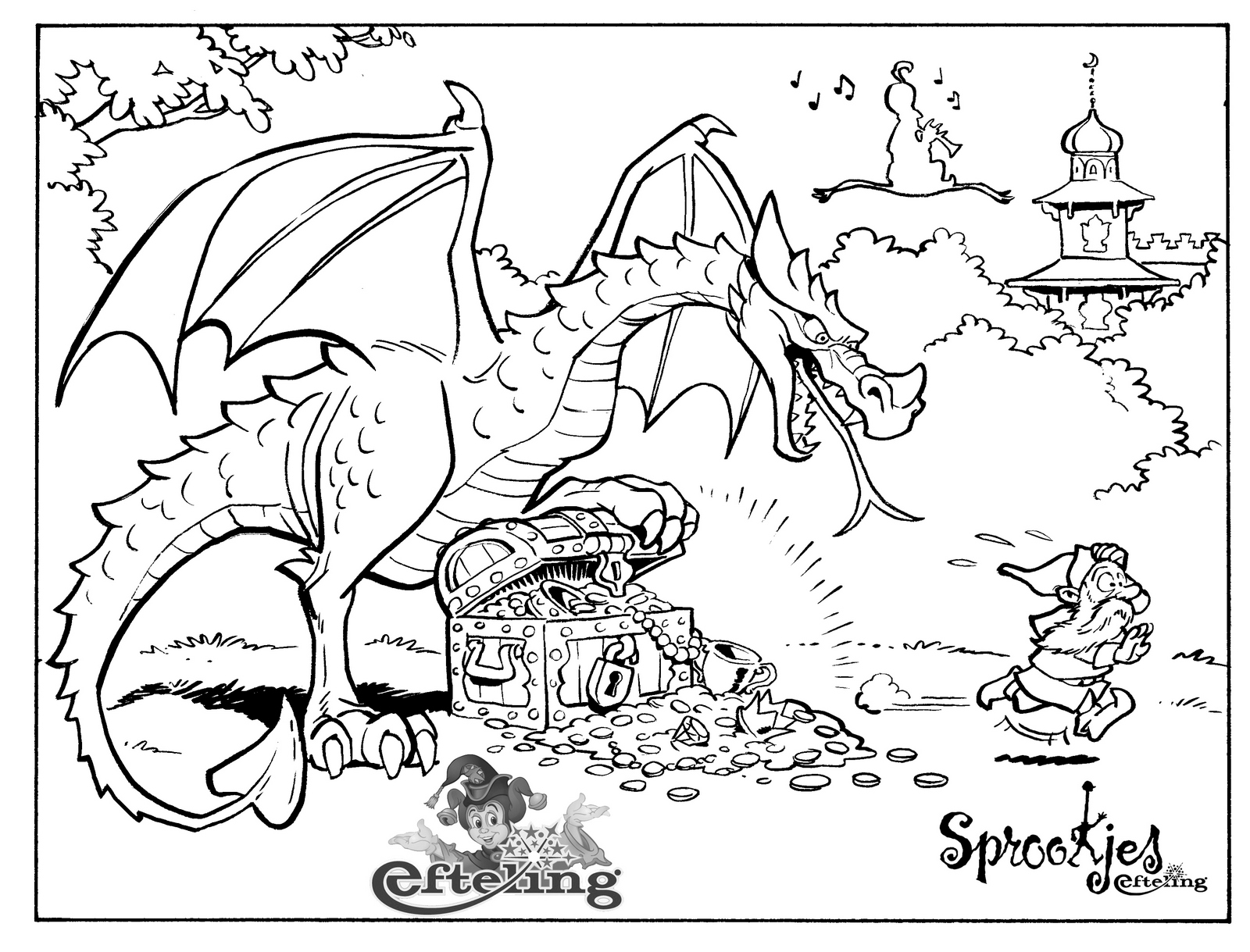 efteling dragon coloring page for children