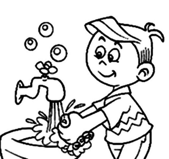 fun hand washing sign coloring page for kids
