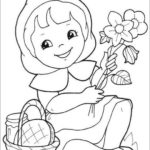 fun little red riding hood picking flowers coloring sheet