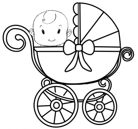funny and captivating cute baby carriage coloring page