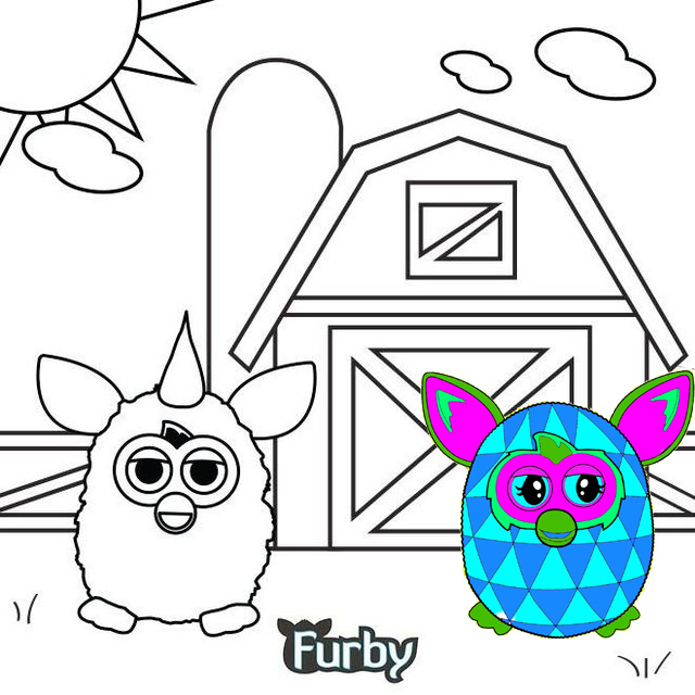 furby and a barn coloring page