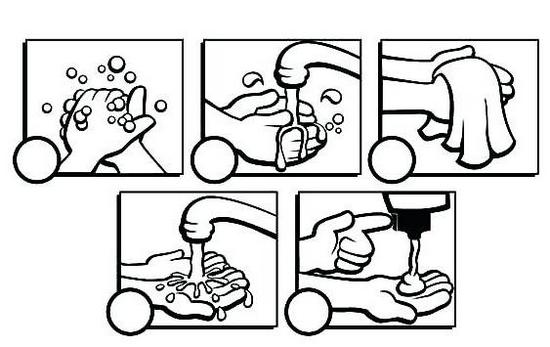 how to handwash coloring picture for preschool children
