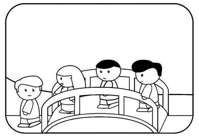 lego kids crossing a bridge coloring page