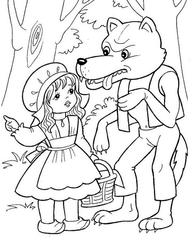 little red riding hood and peter coloring pages