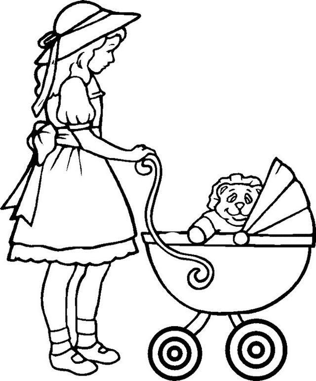 mom pushing baby carriage coloring pages
