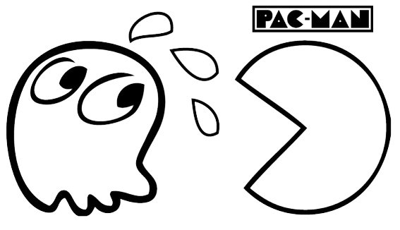pac man videogames coloring page for little kids