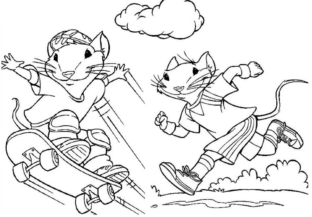 perfect stuart little skateboard coloring pages