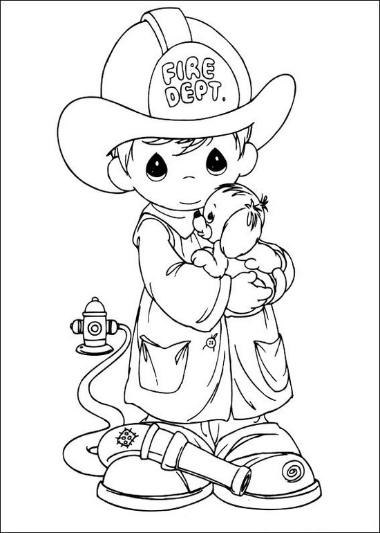 precious moments fire fighter rescue a dog coloring page
