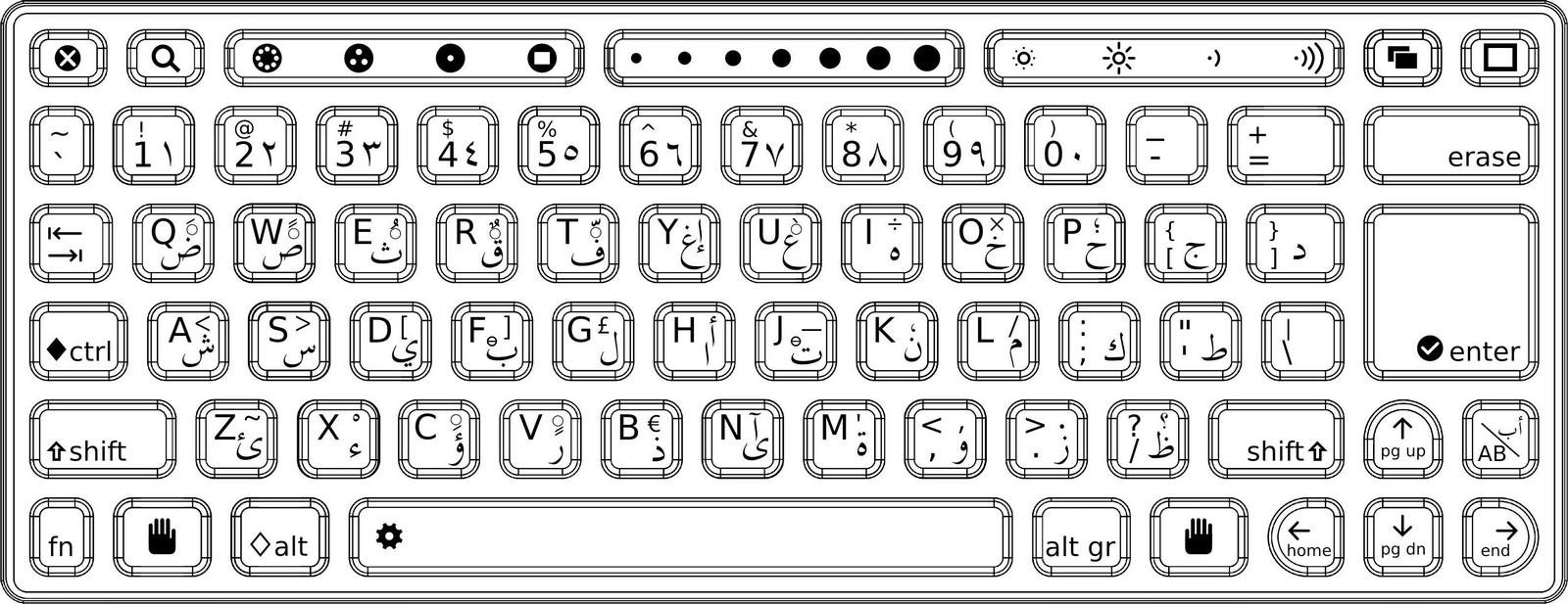 printable computer keyboard completely arabic coloring pages