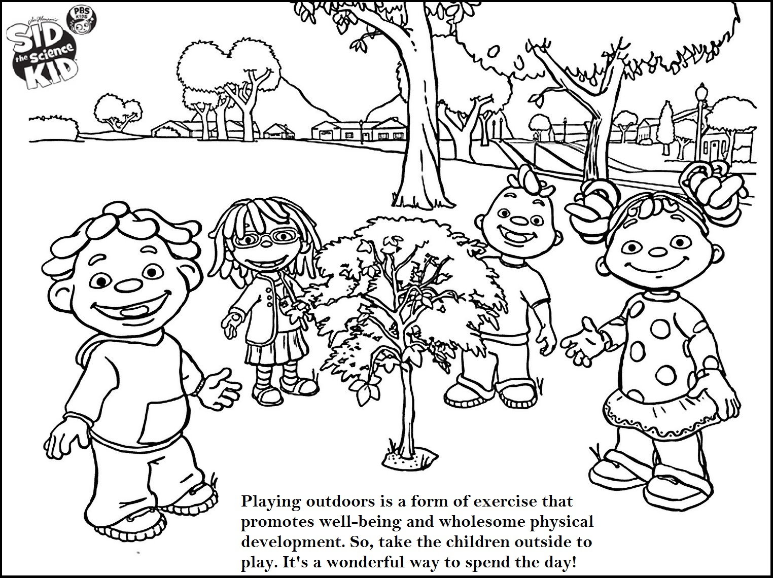 sid the science kid playing outdoor with friends coloring page