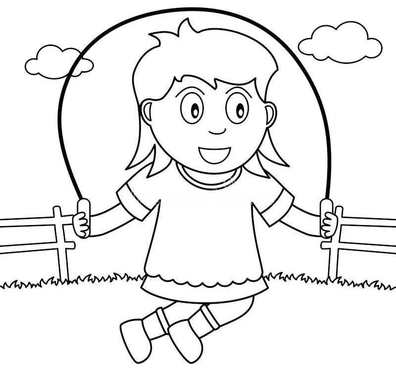 skipping fitness coloring page
