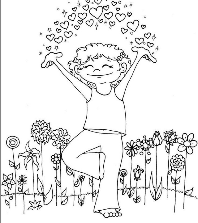 yoga pose taking a breath coloring page for kids