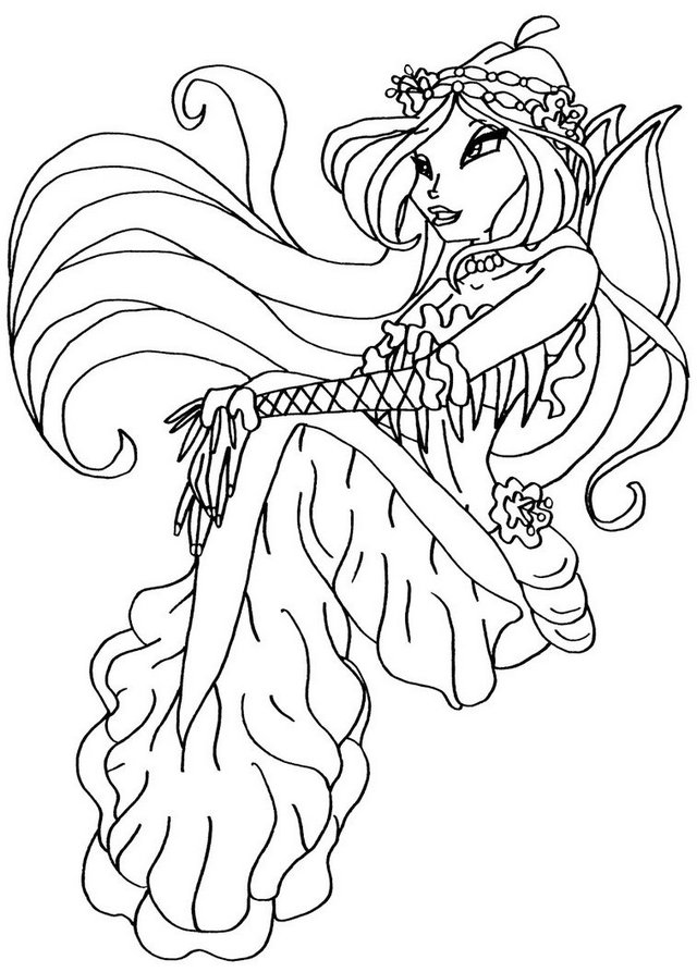 Bloom Mermaid Winx Club Coloring Picture for Girls