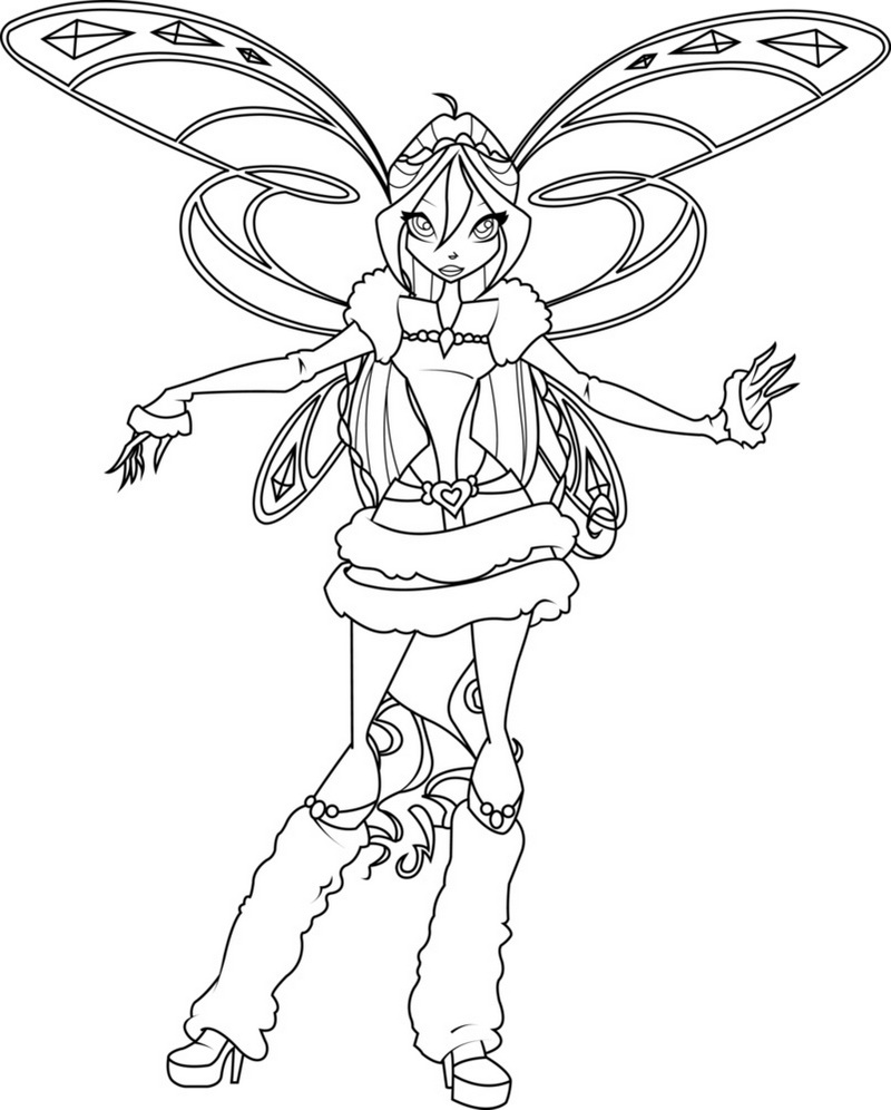 Bloom Winter Winx Club Coloring Page