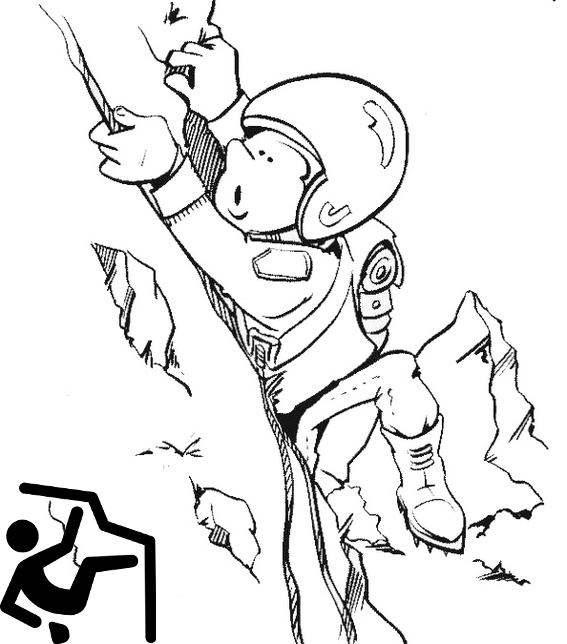 cute rock climbing cartoon coloring picture. Black Bedroom Furniture Sets. Home Design Ideas