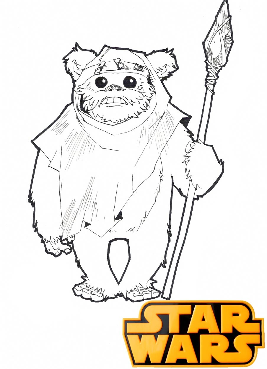 Ewok Plush Star Wars Coloring Page