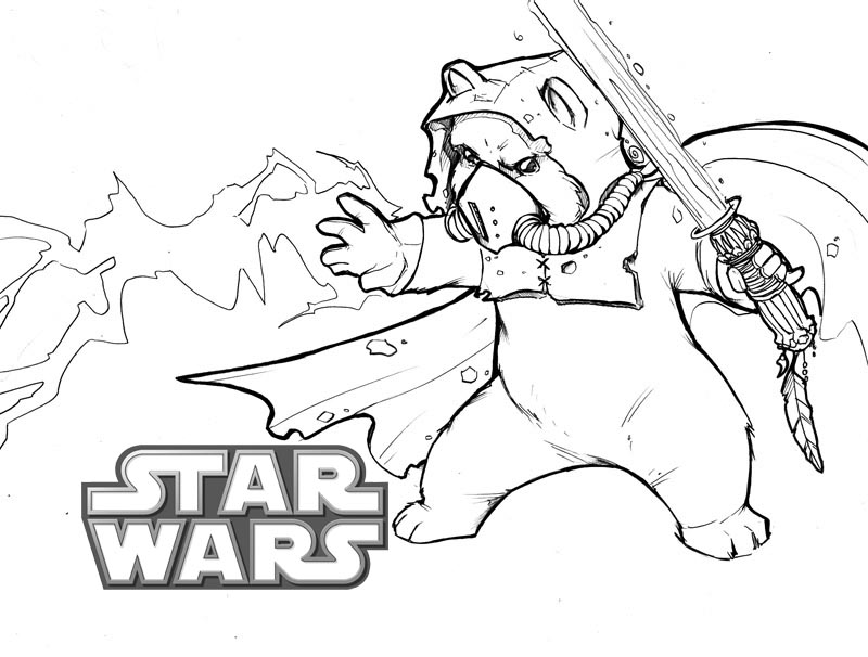 Ewok Star Wars Coloring Page