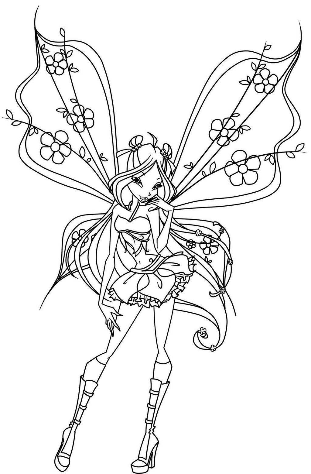 Fantastic Flora the Winx Club Coloring Page